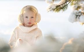 Picture snow, portrait, girl, Sandra Jolly