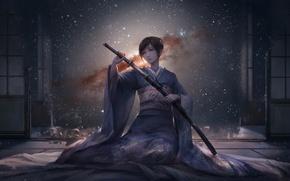 Picture the sky, girl, stars, night, weapons, katana, anime, art, kimono, jlien-, di qiu wang shi