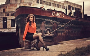 Picture ship, skirt, pier, blouse, Carina