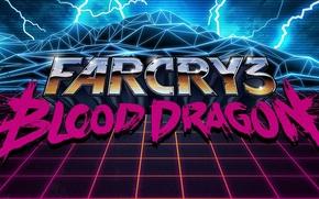 Picture mountains, retro, future, lightning, island, art, Far Cry, nostalgia, Blood Dragon, Far Cry 3 Blood …