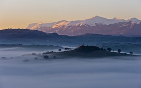 Picture trees, mountains, fog, hills, home, morning, Italia, Reign