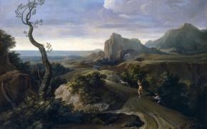 Picture tree, rocks, dog, picture, hunter, Corrado Dzhakvinto, Landscape with Hunters