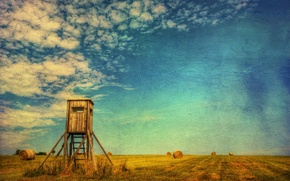 Picture field, summer, landscape, style, hay