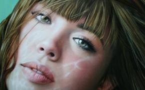 Picture look, girl, face, hair, art, lips, green eyes, Christiane Vleugels