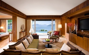 Picture sea, mountains, house, room, sofa, bed, pillow, pool, TV, chairs, bedroom, landscape.