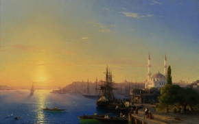 Picture Constantinople, Marina, architecture, the city, port, sea, boats, sailboats, building, Aivazovsky, picture, ships, light, mosque, ...