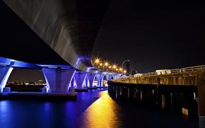 Picture night, bridge, the city, Miami