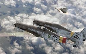 Picture fighter, art, Focke-Wulf, roen911, Fw-230, Ta-152, Zwilling, Erla