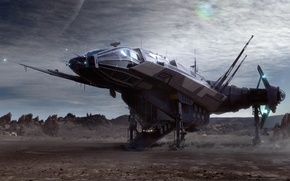 Picture fiction, ship, planet, game wallpapers, Star Citizen