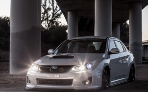 Picture light, turbo, white, wheels, subaru, japan, wrx, impreza, jdm, tuning, power, front, Subaru, sti, face, …