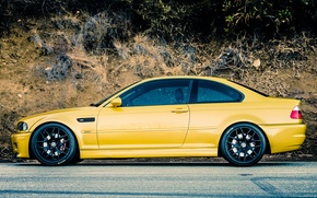 Picture Road, BMW, BMW, Yellow, E46, Side