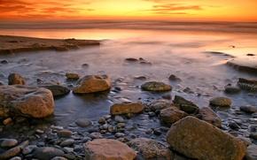 Wallpaper sea, water, landscapes, the ocean, the sky, shore, stones