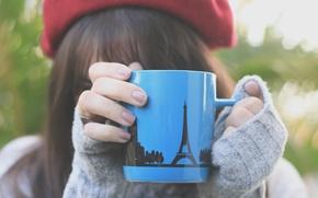 Picture greens, girl, macro, nature, grey, background, pattern, mood, hat, figure, Eiffel tower, blur, hands, brunette, …