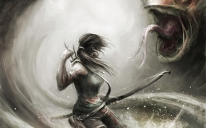 Picture girl, weapons, monster, bow, art, Tomb Raider, arrows, Lara Croft