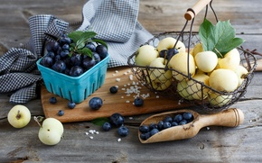 Picture berries, basket, apples, blueberries, dishes, fruit, basket, plum, blueberries