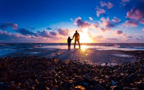 Wallpaper rays, light, boy, guy, shore, silhouette, beach, sea, mood, the sun, stones, sunset