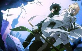 Picture guys, swords, anime, art, Owari no Seraph, Yuuichirou Hyakuya, Michaela Hyakuya
