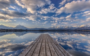 Picture the sky, clouds, mountains, lake, reflection, pier, mirror, pierce