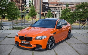 Wallpaper car, tuning, BMW, car, the front, orange, 3D Design