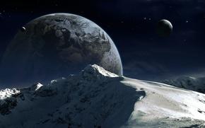 Picture snow, mountains, planet, satellite