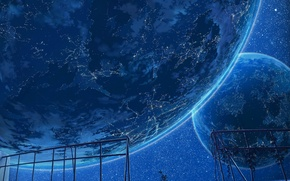 Picture the sky, stars, lights, earth, wire, planet, plants, art, cola