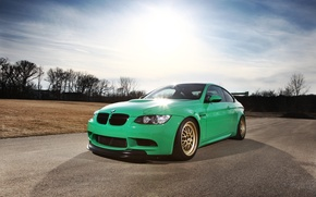 Wallpaper road, the sky, clouds, green, bmw, BMW, green, Blik, e92