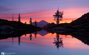 Picture sunset, reflection, mountain, photographer, Heart Lake, Mount Shasta, Kenji Yamamura