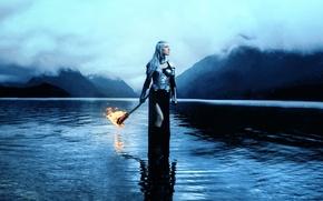 Picture girl, armor, torch, Kindra Nikole