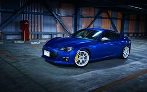 Picture Subaru, Blue, BRZ, Wheels, Whie