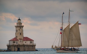 Picture Chicago Harbor Lighthouse, Chicago, The Chicago lighthouse, Chicago, Lake Michigan, lake Michigan, Illinois, sailboat, lake, …