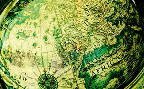 Picture world map, globe, antique, green background