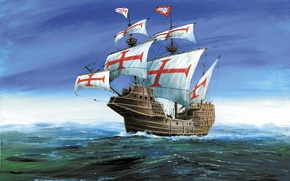 Picture ship, land, time, armed, to conquer, ships, shipping, 600-700, on it was mounted a 10 …