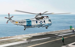 Picture helicopter, art, deck, American, figure, Sea King, Vincenzo Auletta, SH-3G, artist, U.S.