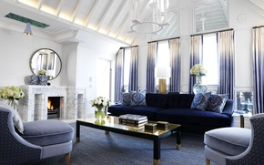 Picture sofa, books, Windows, chairs, vase, fireplace, curtains, table, flowers., design, interior, apartament