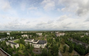 Wallpaper roof, the sky, trees, Pripyat, apartments, a Ghost town
