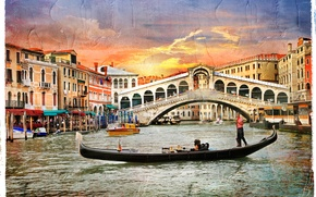 Picture the sky, water, clouds, landscape, sunset, nature, the city, Italy, Venice, Grand Canal