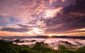Wallpaper Taiwan, clouds, sunset