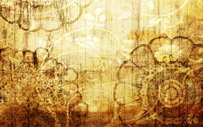 Picture flowers, yellow, background, patterns, texture, brown