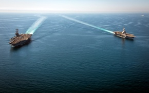 Picture sea, weapons, ships, aircraft carrier, Charles de Gaulle (R91), USS Carl Vinson (CVN 70)