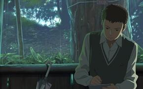 Picture trees, rain, umbrella, Notepad, guy, gazebo, vest, Kotonoha no Niwa, Garden of fine words, The …