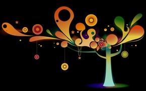 Wallpaper tree, decoration, vector, circles, color
