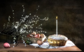 Picture candle, eggs, Easter, cake, Verba