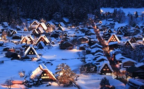 Picture winter, snow, night, lights, Japan, valley, the island of Honshu, Gokayama, Shirakawa-go