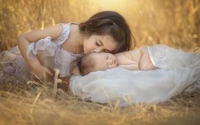 Wallpaper girl, children, nature, baby, grass, kiss