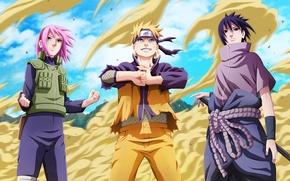 Wallpaper sand, girl, joy, mood, anger, indifference, guys, Naruto, Naruto, art, uchiha sasuke, Uzumaki naruto, haruno ...