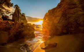 Picture sea, rocks, dawn, coast, Coast, Espana, Costa Brava, Catalonia, Cap Roig