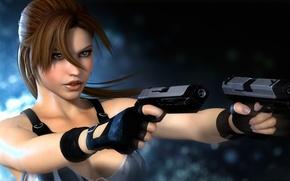 Picture look, girl, glare, weapons, Tomb Raider, Lara Croft