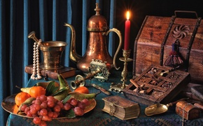 Picture candle, necklace, grapes, book, fruit, chest, still life, pear, spices, tangerines, mortar, coffee pot, copper