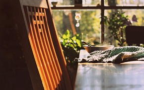 Picture the sun, Breakfast, chair, wooden