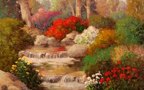 Picture water, trees, flowers, nature, roses, painting, brook
